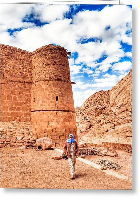 Saint Catherine Greeting Cards - Outside the Walls of Historic Saint Catherines Monastery - Egypt Greeting Card by Mark Tisdale