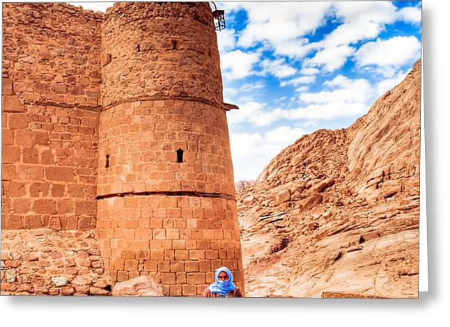 Outside the Walls of Historic Saint Catherine's Monastery - Egypt Greeting Card by Mark Tisdale
