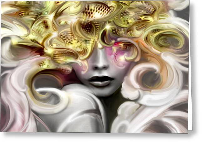 Disco Mixed Media Greeting Cards - STRANGE BEAUTY exotic disco diva Greeting Card by Jaimy Mokos
