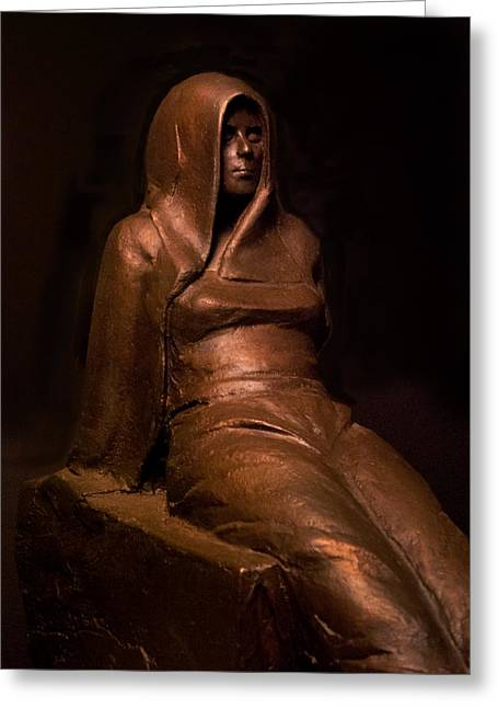 Woman Sculptures Sculptures Greeting Cards - Outsider Greeting Card by Mary Buckman