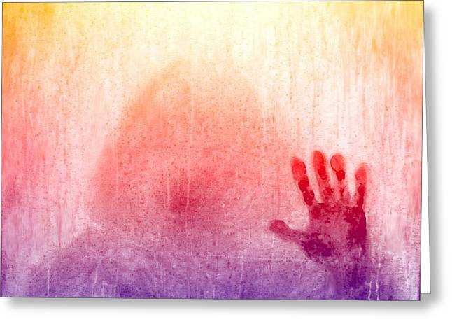 Hand Made Digital Art Greeting Cards - Outsider series - Burning Hand in colors 1 Greeting Card by Lilia D