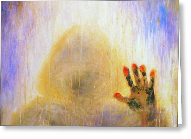 Hand Made Digital Art Greeting Cards - Outsider series - Burning Hand Greeting Card by Lilia D