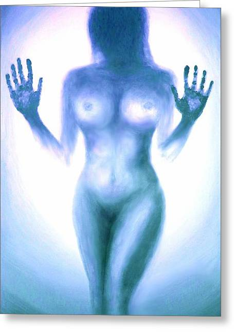 Outsider Series - Trapped Behind The Glass - In Blue Greeting Card by Lilia D