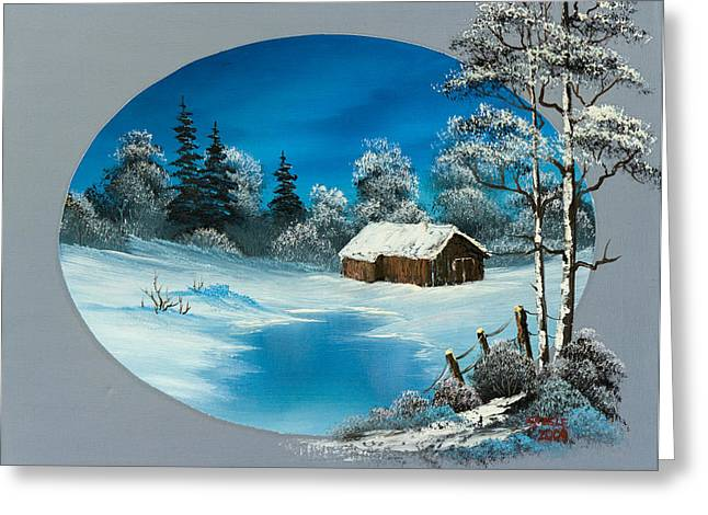 Bob Ross Paintings Greeting Cards - Snowy Barn Greeting Card by C Steele