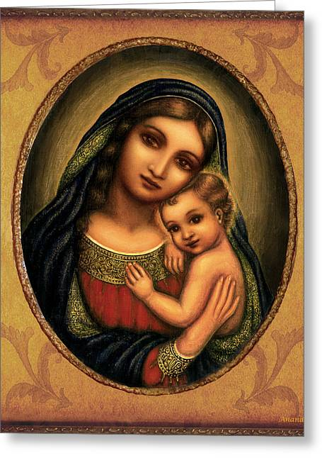 Christ Child Mixed Media Greeting Cards - Oval Madonna  Greeting Card by Ananda Vdovic