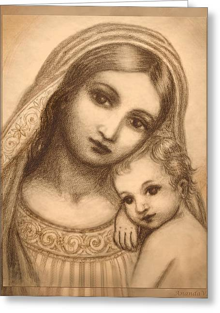 Recently Sold -  - Child Jesus Greeting Cards - Oval Madonna Drawing Greeting Card by Ananda Vdovic