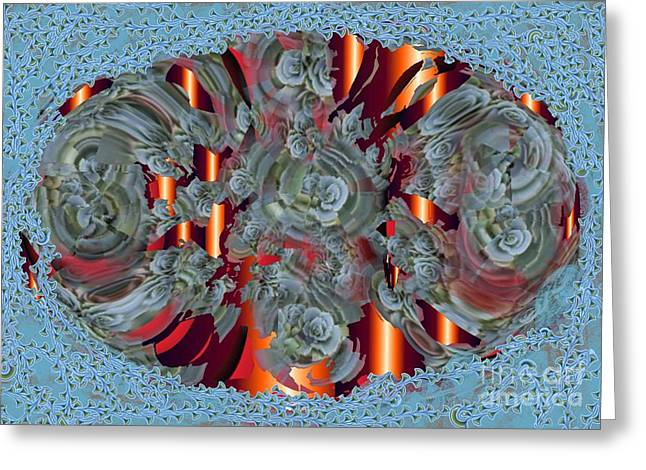 Orange Tapestries - Textiles Greeting Cards - Oval Rose Greeting Card by Claire Masters