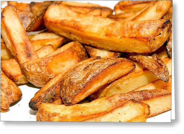 French Fries Greeting Cards - Oven baked potato chips on a white plate Greeting Card by Fizzy Image