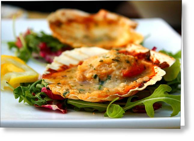 Italian Meal Greeting Cards - Oven-Baked Scallops Greeting Card by Saya Studios