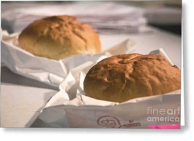 Loaf Of Bread Greeting Cards - Oven Fresh Greeting Card by Howard Tenke