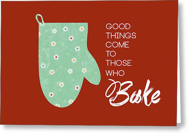 Food Digital Greeting Cards - Oven Mitt with Red Greeting Card by Nancy Ingersoll