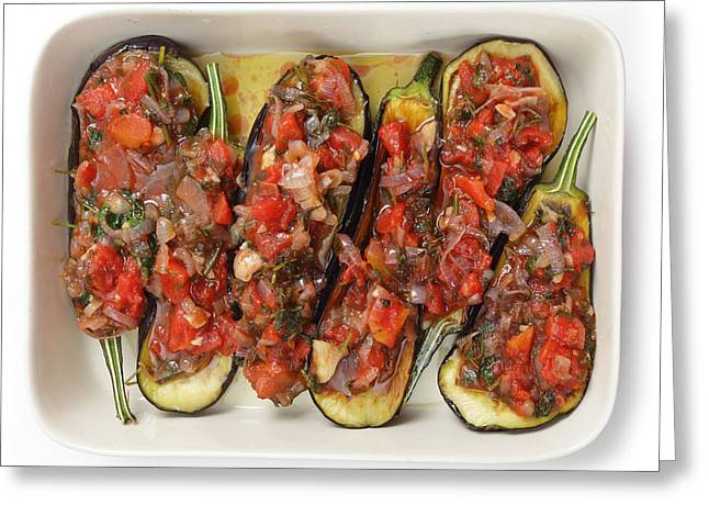 Olive Oil Greeting Cards - Oven ready stuffed aubergines Greeting Card by Paul Cowan