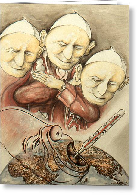 Critical Illustration Greeting Cards - Over-Pope-Ulation - Cartoon Drawing Greeting Card by Peter Fine Art Gallery  - Paintings Photos Digital Art