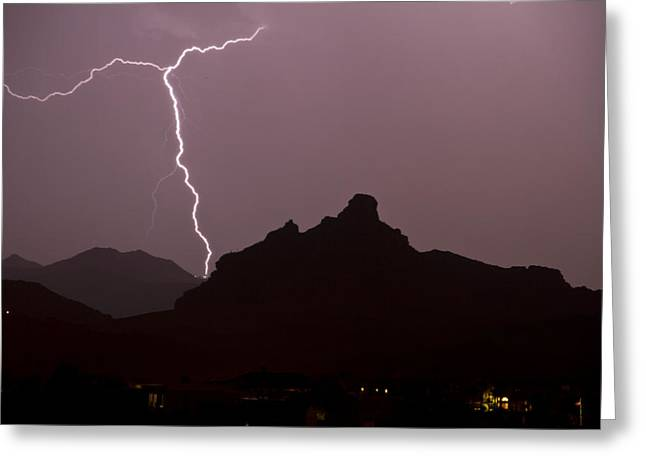 Arizona Lightning Greeting Cards - Over Red Mountain Greeting Card by Cathy Franklin