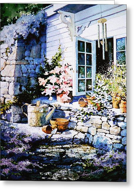 Wind Chimes Greeting Cards - Over Sleepy Garden Walls Greeting Card by Hanne Lore Koehler