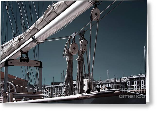 Sailboat Photos Greeting Cards - Over the Bow Greeting Card by John Rizzuto