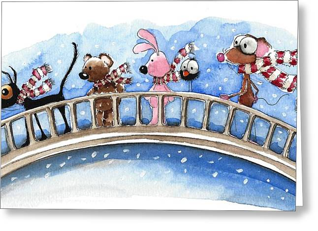 Striped Scarf Greeting Cards - Over the bridge they go Greeting Card by Lucia Stewart