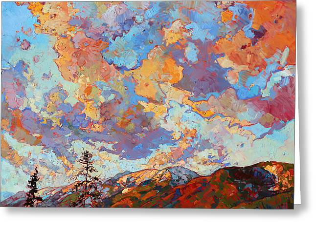 Over The Crest Greeting Card by Erin Hanson