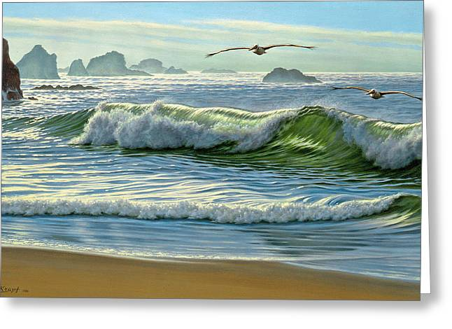 Pelican Paintings Greeting Cards - Over the Curl Greeting Card by Paul Krapf
