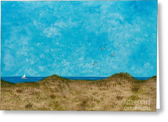 Recently Sold -  - Sailboats In Water Greeting Cards - Over The Dunes Greeting Card by Hillary Binder-Klein