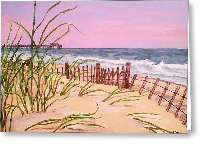 Sand Dunes Paintings Greeting Cards - Over The Dunes To The Garden City Pier  Greeting Card by Heather  Gillmer
