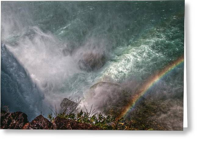 River View Digital Art Greeting Cards - Over The Falls Greeting Card by Linda Unger
