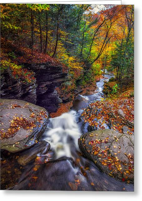 Water Over Rock Greeting Cards - Over the falls Greeting Card by Mark Papke