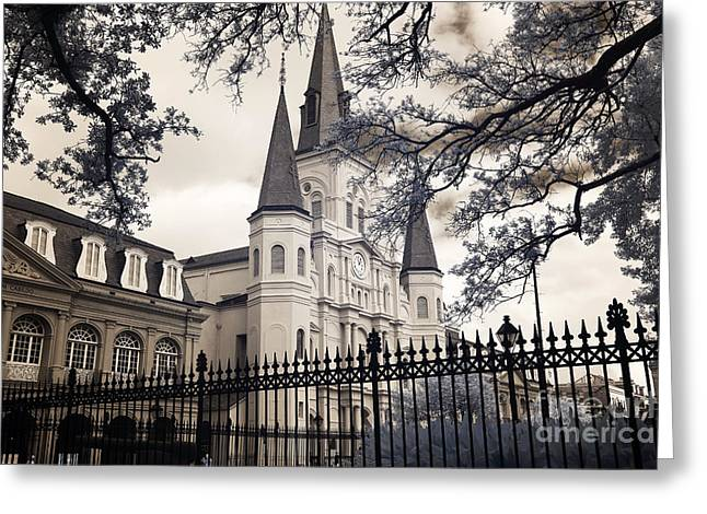 St. Louis Artist Greeting Cards - Over the Fence and Through the Trees infrared Greeting Card by John Rizzuto