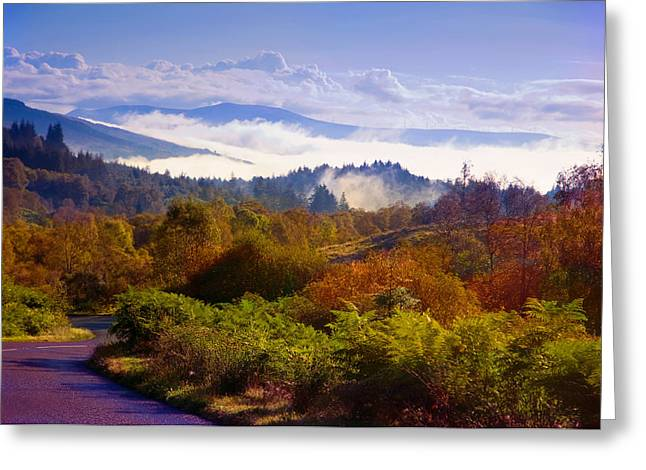 Landscape Photograpy Greeting Cards - Over the Fog. Trossachs National Park. Scotland Greeting Card by Jenny Rainbow