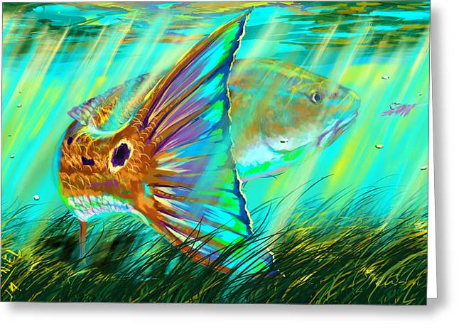 Shark Digital Art Greeting Cards - Over The Grass  Greeting Card by Yusniel Santos