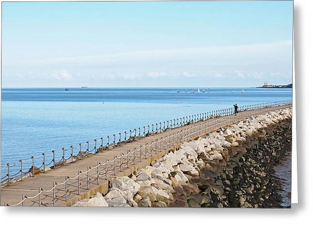 Harbour Wall Greeting Cards - Over The Harbour Wall Greeting Card by Gill Billington