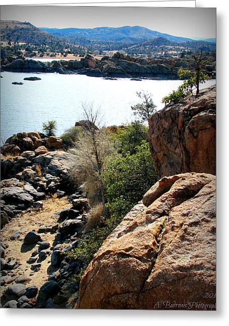 Watson Lake Greeting Cards - Over the Lake Trail Greeting Card by Aaron Burrows