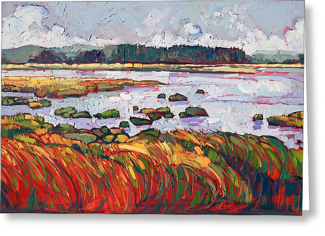Sloughs Greeting Cards - Over the Marsh Greeting Card by Erin Hanson