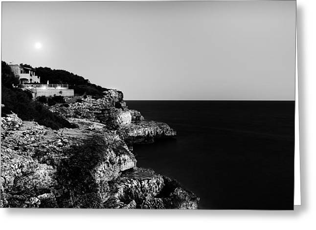 Best Sellers -  - Cliffs Over Ocean Greeting Cards - Over the moon Greeting Card by Vinicios De Moura