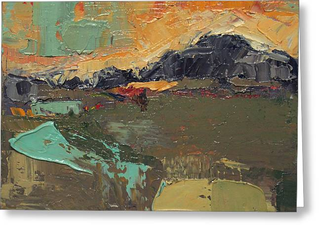 Pallet Knife Greeting Cards - Over the Mountain Greeting Card by Becky Kim