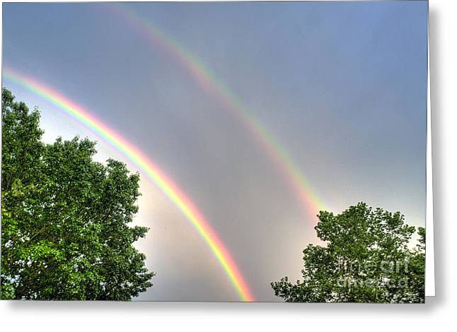 Double Rainbow Greeting Cards - Over The Rainbow Greeting Card by Arnie Goldstein