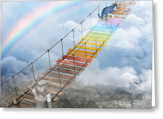 3d Render Greeting Cards - Over the Rainbow Bridge Greeting Card by Jutta Maria Pusl