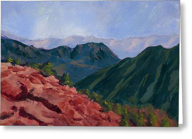 Sinai Mountain Greeting Cards - Over the Ridge Greeting Card by Mary Benke