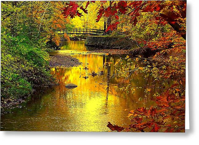 Paisaje Greeting Cards - Over the River and Through the Woods Greeting Card by Frozen in Time Fine Art Photography