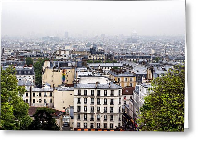 Comtemporary Art Greeting Cards - Over the Roofs of Paris Greeting Card by Nomad Art And  Design