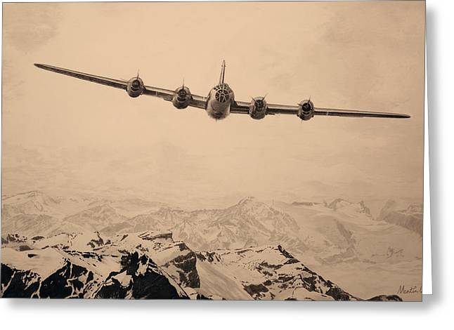 B29 Bomber Greeting Cards - Over The Top - Boeing B-29 Superfortress - Peach Greeting Card by Martin Hall
