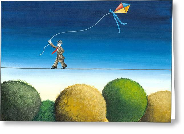 Kite Paintings Greeting Cards - Over the trees Greeting Card by Graciela Bello
