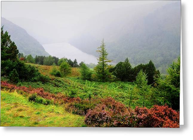 Misty Pine Photography Greeting Cards - Over the Upper Lake. Glendalough. Ireland Greeting Card by Jenny Rainbow