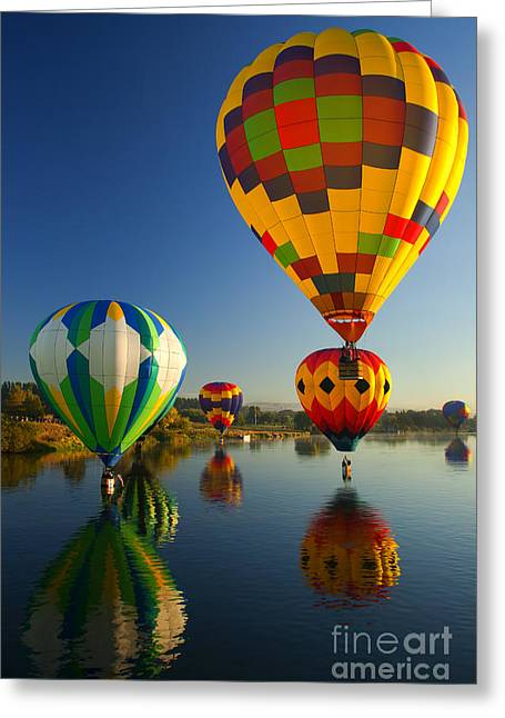 Hot Air Greeting Cards - Over the Water Greeting Card by Mike  Dawson