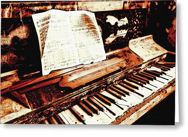 Pianist Mixed Media Greeting Cards - Over time Greeting Card by Leitte Family