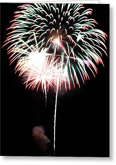 Pyrotechnics Greeting Cards - 4th of July Fireworks 4 Greeting Card by Howard Tenke