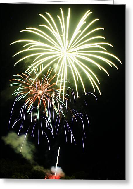 Pyrotechnics Greeting Cards - 4th of July Fireworks 5 Greeting Card by Howard Tenke