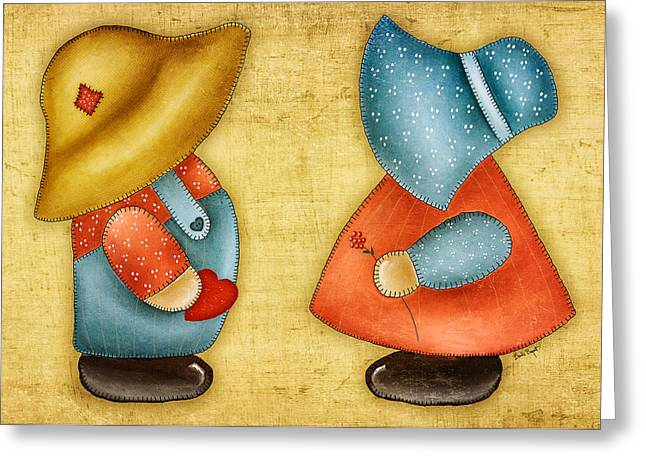 Overall Sam And Sunbonnet Sue Greeting Card by Brenda Bryant