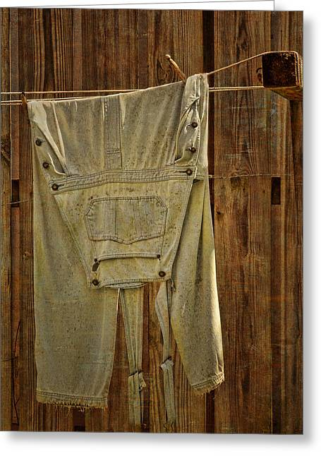 Clothes Pins Greeting Cards - Overalls Drying Greeting Card by Nikolyn McDonald