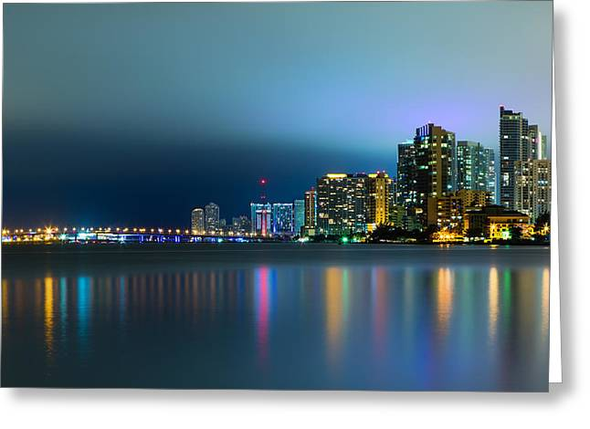 Brickell Greeting Cards - Overcast Miami Night Skyline Greeting Card by Andres Leon